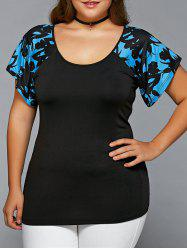 Plus Size Scoop Neck Spliced Blouse - BLACK