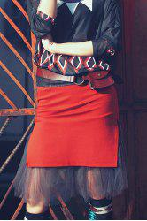 Knee Length Fitted Tulle Skirt - ORANGE RED XL