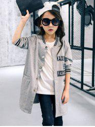 Letter Printed Baseball Jacket Style Coat -