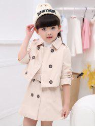 Turn Down Collar Short Trench Coat + Sleeveless Belted Dress -