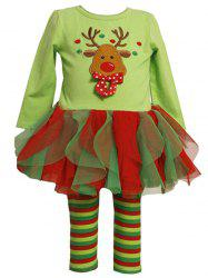2 Piece Reindeer Embroidery Tulle Dress and Stripe Leggings Set -