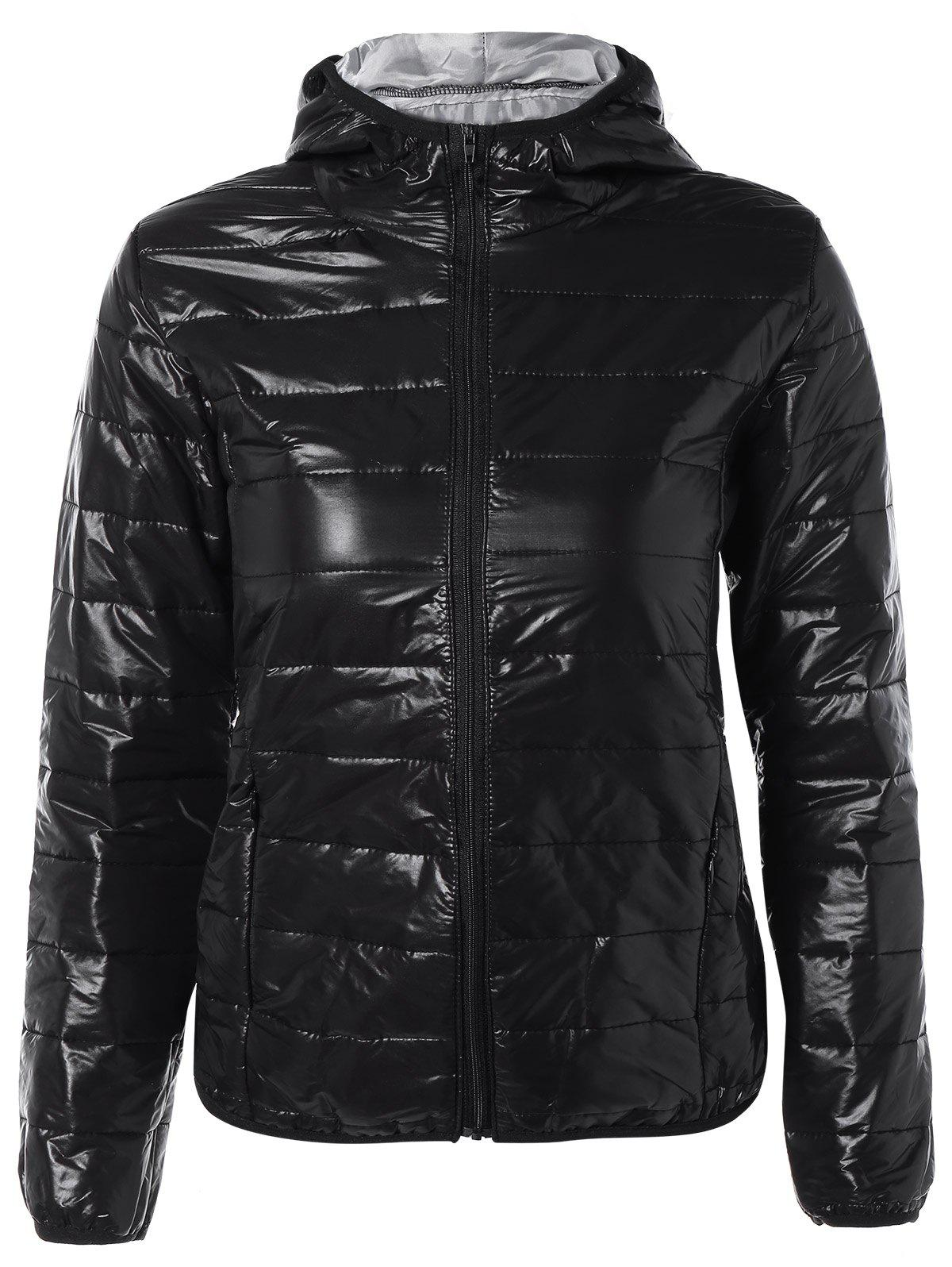 Shop Topstitching Hooded Quilted Winter Jacket