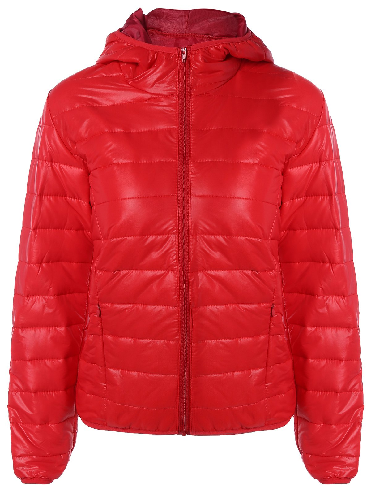 Fancy Topstitching Hooded Quilted Winter Jacket