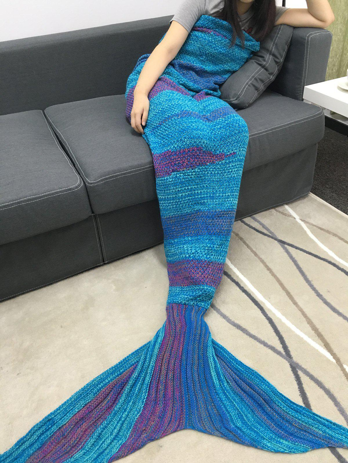 Outfits High Quality Super Soft Crochet Knitted Mermaid Tail Sofa Blanket