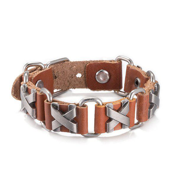 Discount Faux Leather Alloy X Shaped Bracelet