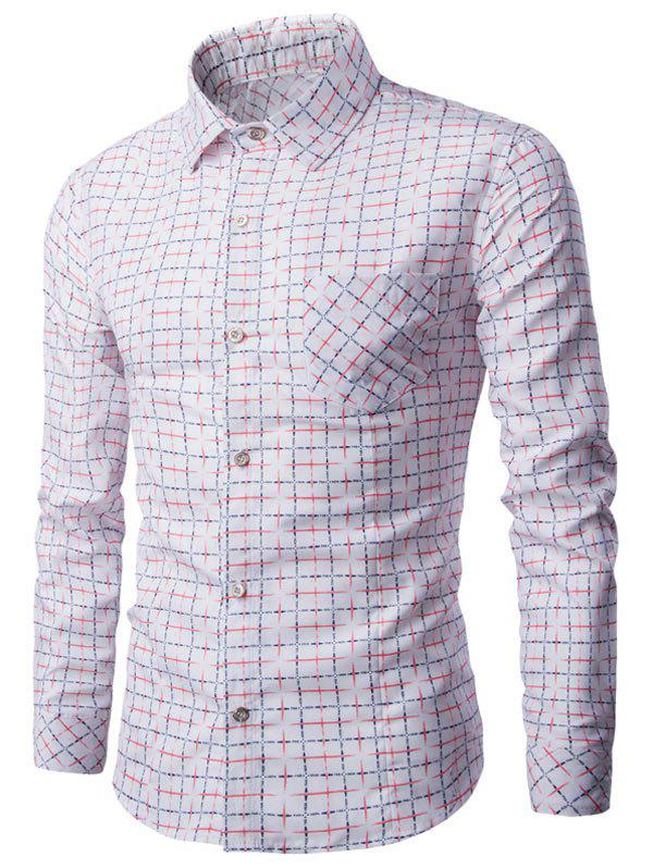 Tournez-down Bouton Collar Up Grille Imprimer shirt