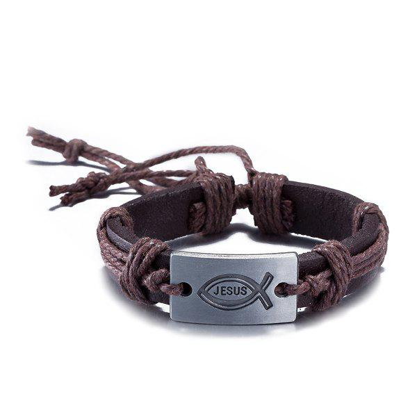 Faux Leather Woven Engraved Jesus BraceletJEWELRY<br><br>Color: BROWN; Item Type: Wrap Bracelet; Gender: For Men; Chain Type: Leather Chain; Style: Classic; Shape/Pattern: Letter; Weight: 0.032kg; Package Contents: 1 x Bracelet;