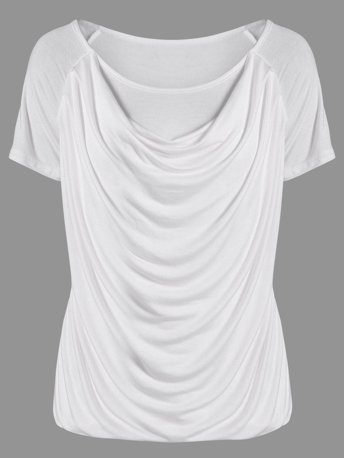 Ruched Plain Ruffled T-Shirt от Rosegal.com INT
