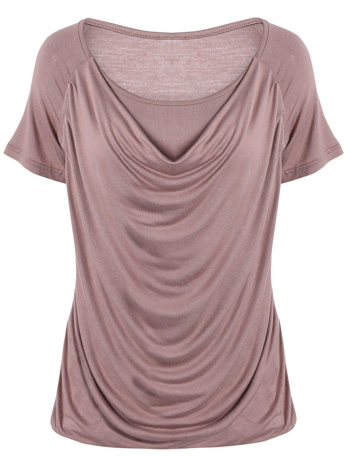 Ruched Plain Ruffled T-ShirtWOMEN<br><br>Size: XL; Color: KHAKI; Material: Cotton Blends; Shirt Length: Regular; Sleeve Length: Short; Collar: Scoop Neck; Style: Fashion; Season: Summer; Pattern Type: Solid; Weight: 0.200kg; Package Contents: 1 x T-Shirt;