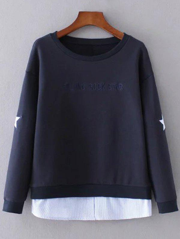 Cheap Layered Hem Star Sweatshirt