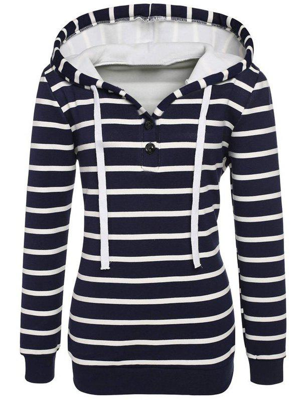 Chic Long Sleeves Striped Buttoned Hoodie