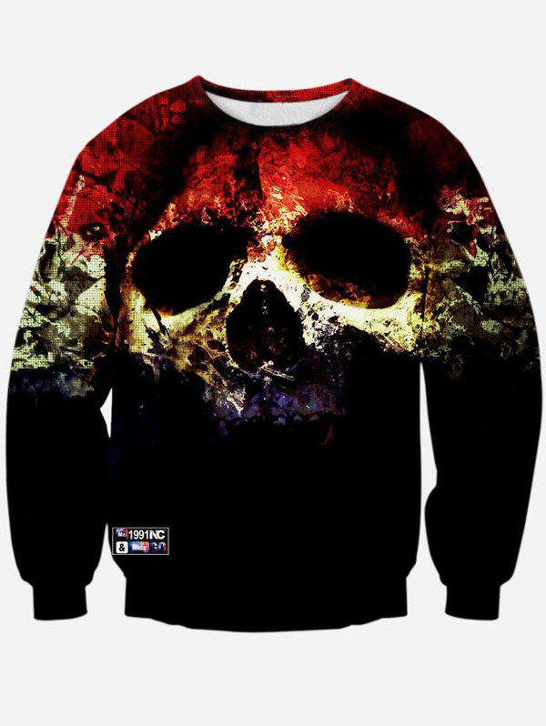 New Crew Neck 3D Horrific Skull Printed Sweatshirt