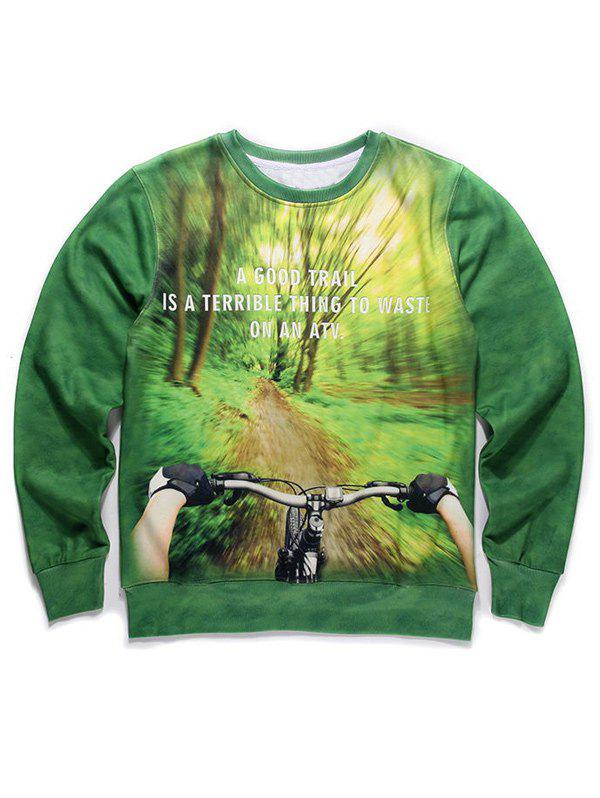 Outfits Round Neck 3D Forest and Bicycle Print Long Sleeve Fleece Sweatshirt