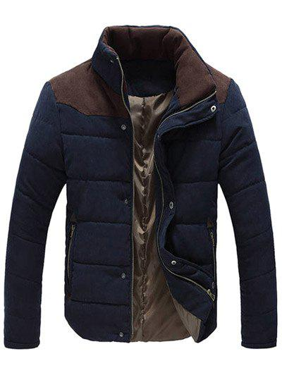 Hot Color Block Zipper Snap Button Stand Collar Padded Coat For Men