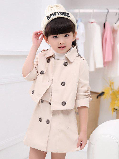 New Turn Down Collar Short Trench Coat + Sleeveless Belted Dress