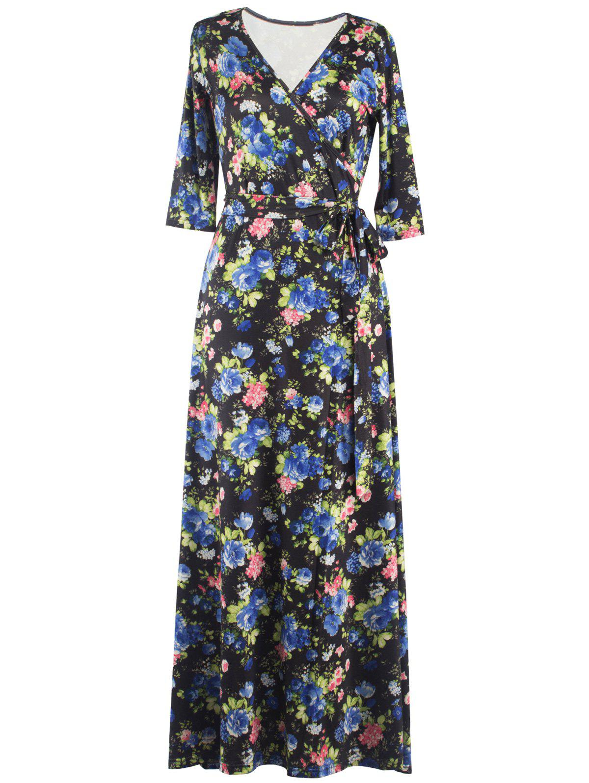 Shops Floral Print Tied Belted Surplice Maxi Dress