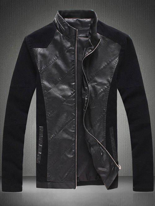New Zip Up Sleeve Buttons Design Leather Insert Jacket