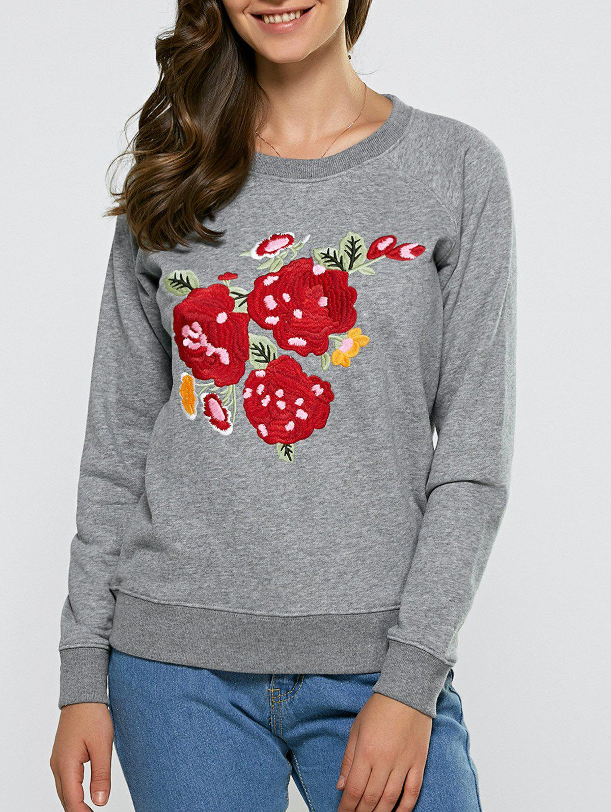 Shop Floral Embroidered Casual Sweatshirt
