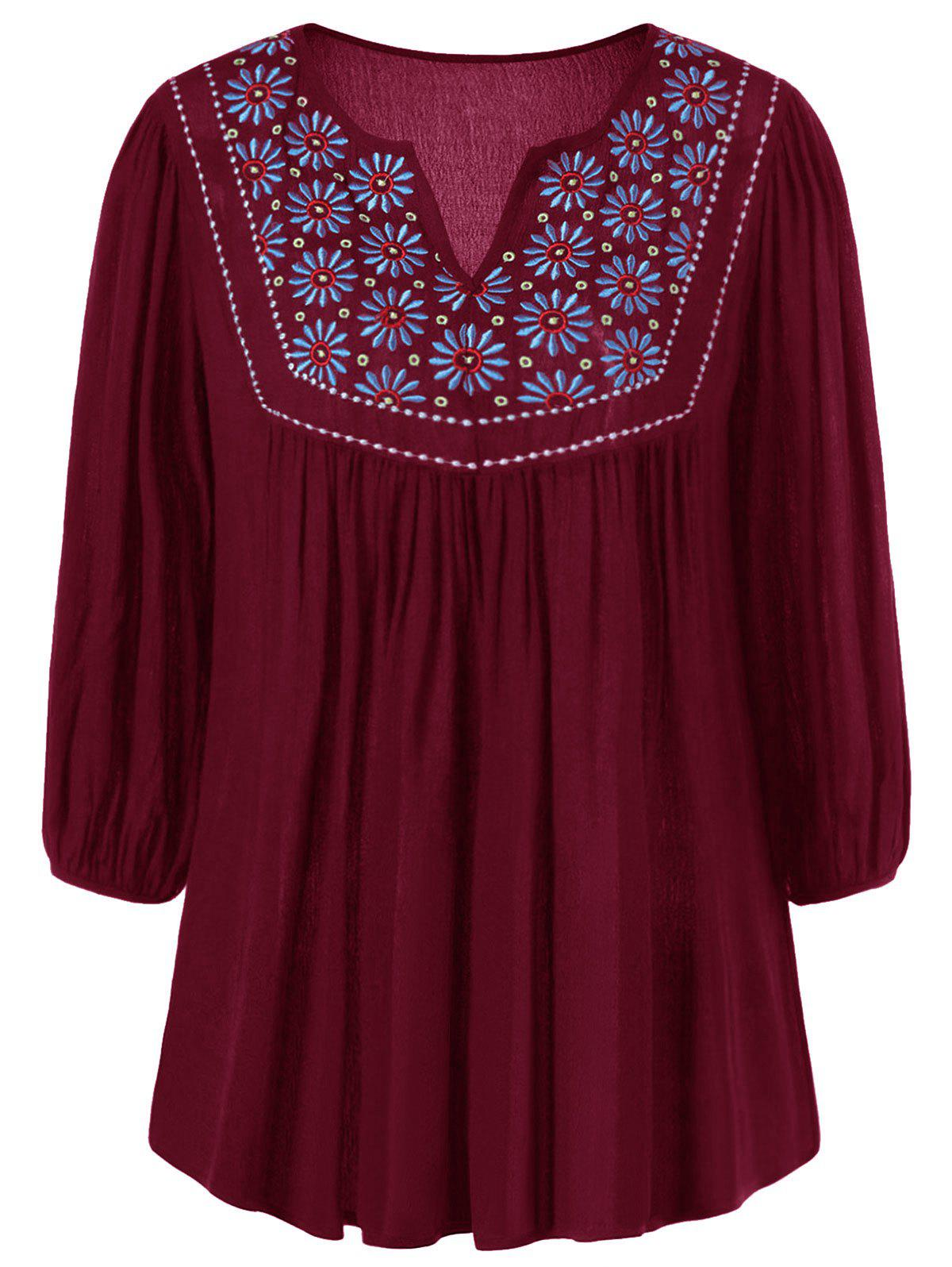 Outfits Floral Embroidered Maxican Peasant Blouse