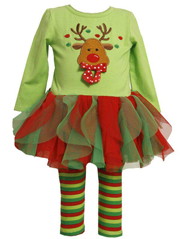 Sale 2 Piece Reindeer Embroidery Tulle Dress and Stripe Leggings Set
