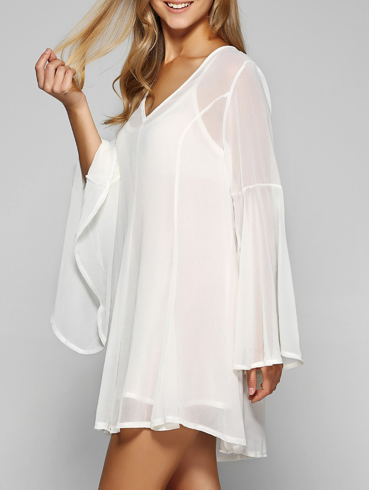 Fashion Mini Chiffon Flare Long Sleeve Swing Tunic Dress