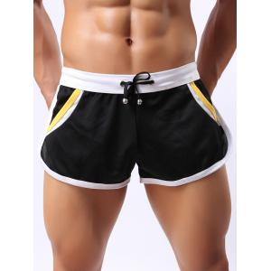 Lace-Up Color Block Splicing Home Shorts