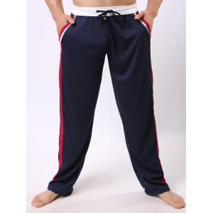 Lace-Up Color Block Edging Splicing Straight Leg Sports Pants
