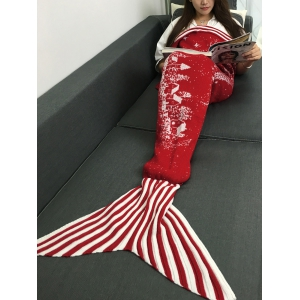 Christmas Tree and House Pattern Knitting Mermaid Blanket - Red - L