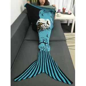 Warmth Deadwood and Bat Pattern Knitted Mermaid Tail Blanket - Blue - W31.50inch*l70.70inch