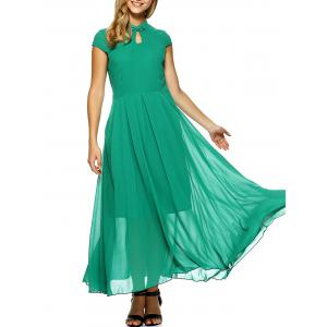 Short Sleeve Chiffon Maxi Cheongsam Dress - Green - L
