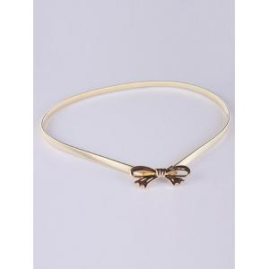 Out Wear Hollow Out Bowknot Elastic Metal Skinny Belt