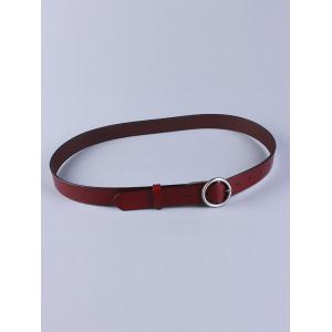 All Match Round Pin Buckle Faux Leather Belt - Wine Red - 38