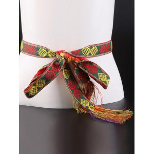 Aztec Embroidery Weaving Tassel Canvas Belt