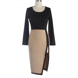 Two-Toned Side Slit Sheath Dress