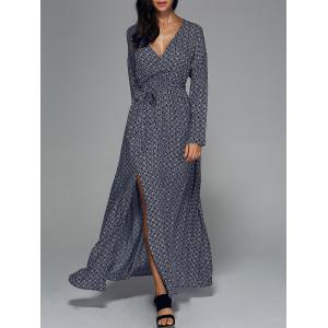 Bohemian High Slit Long Sleeve Surplice Dress