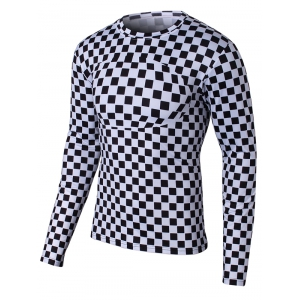 Round Neck Long Sleeve Grid Pattern T-Shirt