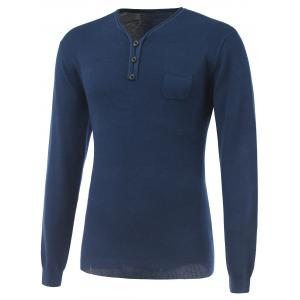 Breast Pocket V-Neck Buttoned Rib Cuff Knitwear