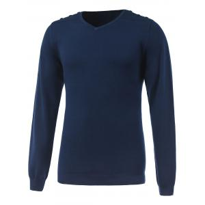 V-Neck Long Sleeve Buttoned Rib Cuff Knitwear - Sapphire Blue - L