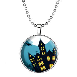 Bat Cross City Pendant Halloween Necklace