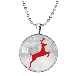 Snow Elk Pattern Pendant Christmas Necklace