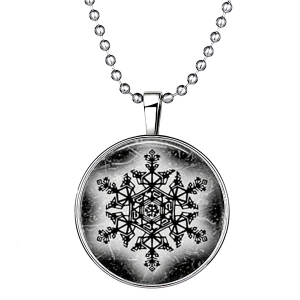 Geometric Devil Snowflake Halloween Christmas Necklace