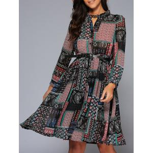 Ornate Printed Button Design Dress
