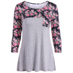 Casual Patch Pocket Floral T-Shirt - Gray - L