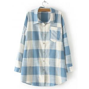 Plaid Pocket Design Loose Juniors Shirt - Light Blue - 2xl