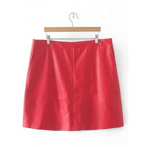 Slim Zipper Flying PU Leather Skirt