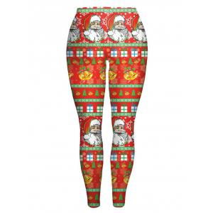 Slim Santa Claus Printed Christmas Leggings - Jacinth - 2xl