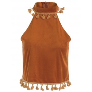 Stand Neck Vintage Tassels Faux Suede Tank Top