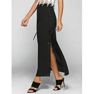 High Waist Lace-Up High Slit Maxi Skirt - Black - S