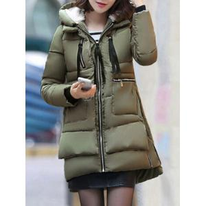 Hooded Puffer Coat - Army Green - 5xl