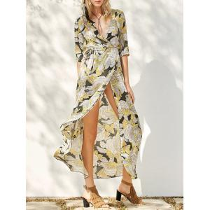 Floral Patterned Long Swing Wrap Beach Boho Dress - Yellow - S
